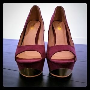 Burgundy Gold Stiletto Heels Work Peep Toe Wine